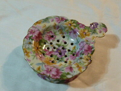 VINTAGE 2 Piece TEA BAG STRAINER WITH DRIP CUP CHINTZ