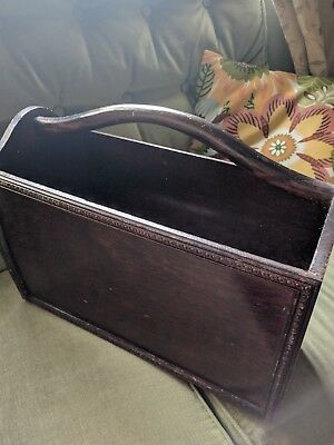 Antique Vintage Wooden Magazine Newspaper Rack Holder Box
