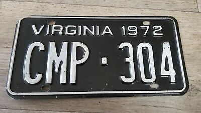 1972 Virginia License Plate CMP-304 Black and White