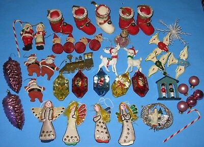 Lot 42 VTG Mixed Christmas Holiday Ornaments Wood Glass Plastic Flocked Fabric