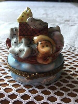 Limoges Box -Noah's Ark & Animals -Elephant -Monkey -Giraffe-Lion -Peint Main