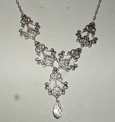 Filigree Victorian Style Silver Plated Faceted Clear Glass Briolette Necklace