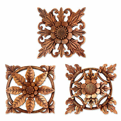 39aa3abce Bloomsbury Market 3 Piece Hand Carved Wood Floral Relief Panels Wall Décor  Set