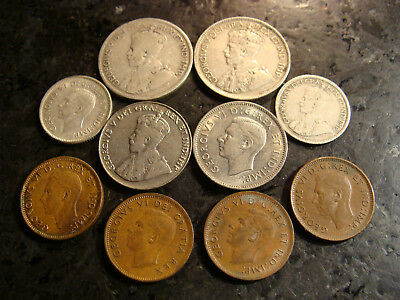 10 Canadian Mint Coins Silver Copper Quarter 1 5 10 25 50 Cent Circulated NR LOT