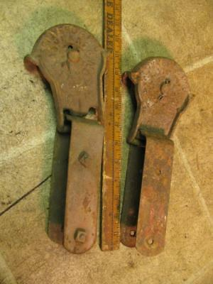 Pair Vintage Myers Stay On Cast Iron Barn Door Rollers Hangers