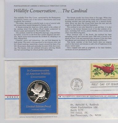 Postmasters Of America Limited Edition  Proof Silver -1972 #28 Wildlife