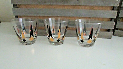 3 Vintage Atomic Black & Gold MCM Arrow Diamond Drinking Glasses