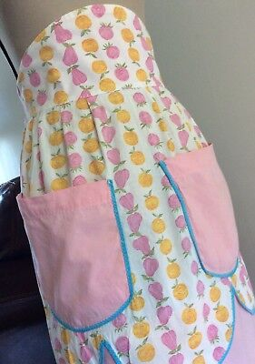Vintage Ladies High Waist 1/2 Apron Pink~Yellow Fruit Pattern Fabric~2 Pockets
