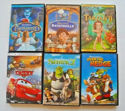 Lot Of 6 Childrens Dvd's Movies Disney & Dreamworks; Enchanted Shrek 2 Cars Rata