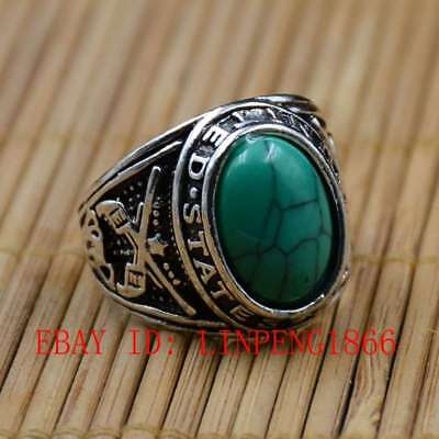Tibetan Silver Hand-carved Inlaid Turquoise Rings L9