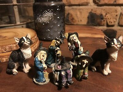 Mini Witch And Cat Figurines