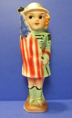 Vintage Ww2 Patriotic Carnival Chalkware Prize, Usa Air Raid Lady, Signed 1941
