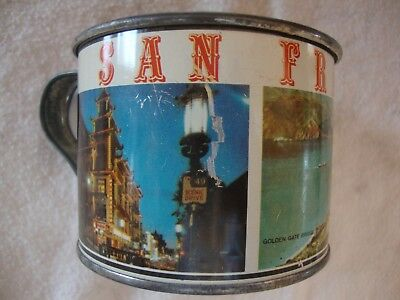 1960-70's San Francisco, California souvenir tin cup-Chinatown-Alcatraz