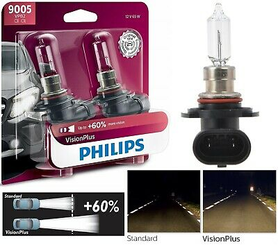 Philips VIsion Plus 60% 9005 HB3 65W Two Bulbs Head Light High Beam Upgrade Lamp