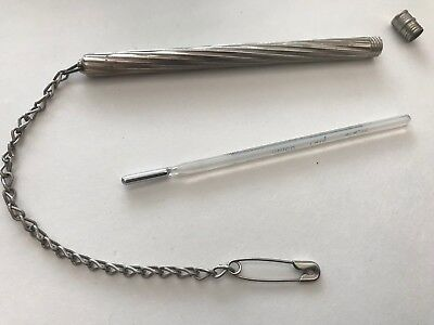 Vintage Nurses Oral Thermometer W/Silver Holder/Pin 91576