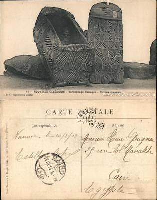 New Caledonia 40-Nouvelle-Caledonia-Sarcophage Canaque-Pierre gravees Postcard