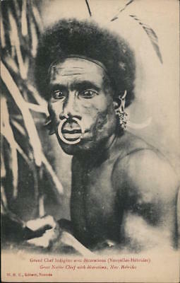 New Hebrides Great Native Chief with Decorations Postcard W. Henry Caporn