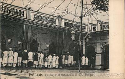 Mauritius Port-Louis 1st Prayer of Mahometans in Their Mosque Postcard