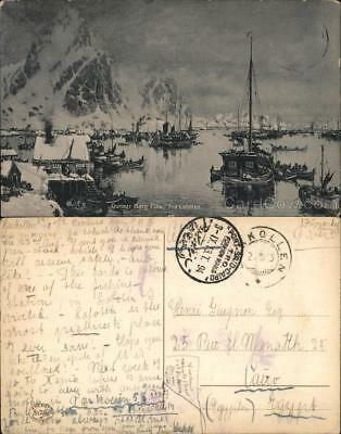 Norway Lofoten Fishing boats in the sea with fjords in the background Postcard