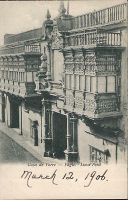 Peru Iquitos Outside photograph of the Iron House doorway and balconies Postcard