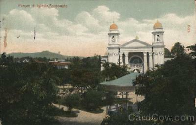 El Salvador Sonsonate Park and Cathedral of Sonsonate Postcard