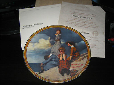 WAITING ON THE SHORE Norman Rockwell Collector's Plate Rediscovered Women 2nd