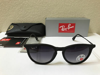 AUTHENTIC Ray Ban Sunglasses Erika Polarized Matte Black w/Grey Gradient 54MM