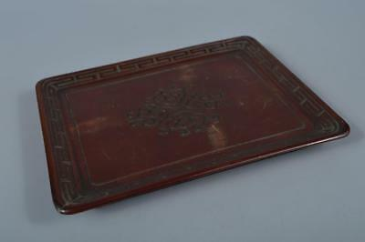 K7583:Japanese Lacquer ware Arabesque sculpture WOODEN TRAY/plate Senchabon
