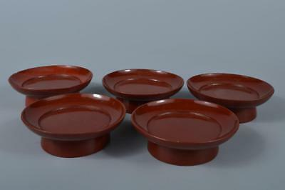 K9906: Japanese Old Wooden Lacquer ware SERVING PLATE/dish 5pcs, Tea Ceremony