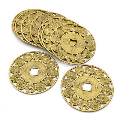 10 Pcs 45mm Lucky Chinese Zodiac Feng Shui Coins Amulet Protection Prosperity