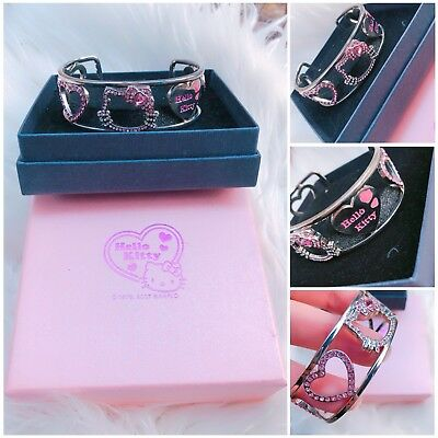 Hello Kitty Pink Silver Color cuff bracelet New In Box
