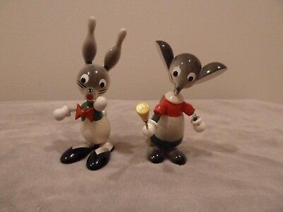 Set of 2 GOULA WOOD BOBBLEHEAD ARTIST MOUSE & RABBIT FIGURINES SPAIN