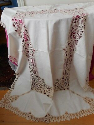 Antique pure linen table cloth with battenburg lace inserts and edges.