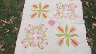 """GORGEOUS 43"""" ANTIQUE 1880 New England APPLIQUE QUILT, WALL HANGING, Crafts, GIFT"""