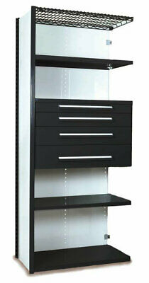 "Equipto V-Grip 84"" Shelving with Drawers Unit - 4Dr with 5 Shelf Closed AddOn"
