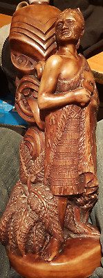 Vintage Table Lamp New Zealand Maori Resin Cast - Working Order Very Collectable