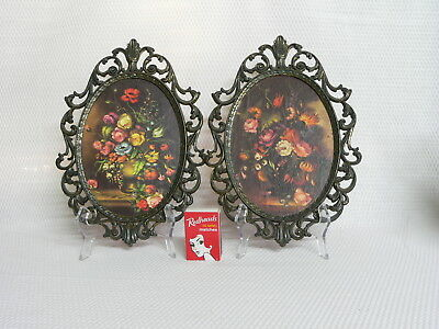 Vintage Pair Oval Ornate Picture Frames - Flower Bouquets