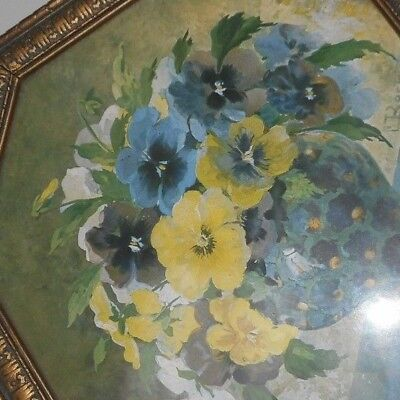 Antique water color painting of pansies