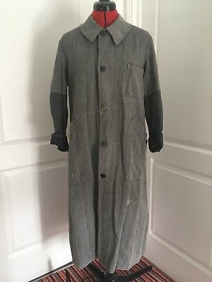 Vintage French Chore Workwear Duster Coat Painters Smock Size S/M
