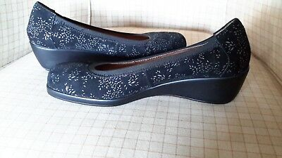 CASSINI 'Magna' Black & Silvery-Grey Suede, Low-Wedge Heels, 40 As New