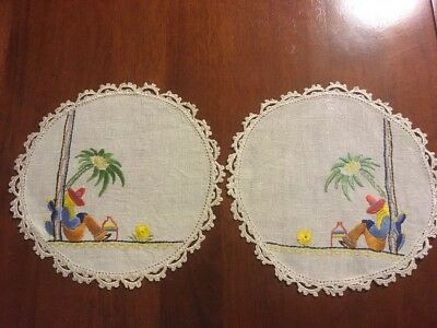Pair of vintage linen Mexican Theme cactus hand embroidered Small Doilies Exc