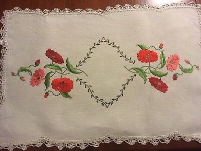 Pretty vintage linen embroidered Floral Poppies? Centrepiece Doily Tray Cloth Ex