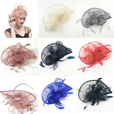 Ladies Fascinator Hat Headband Aliceband Clip Weddings Feather Race Royal Ascot