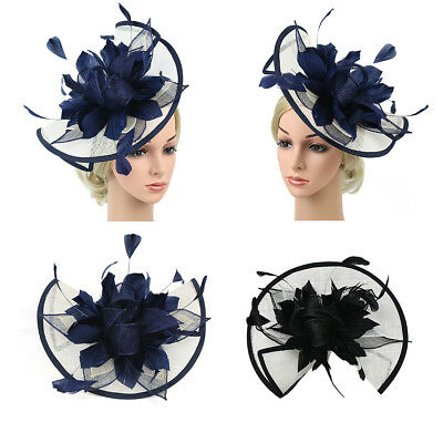 Large Sinamay Fascinator Hat Wedding Day Races Feather Flower Headband Hair Band