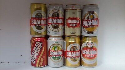 8 Different Brahma Chopp Beer Cans from Brazil
