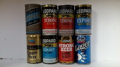 8 Different Steel Leopard Beer Cans from New Zealand
