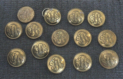 14 OLD  22mm NSW FIRE BRIGADE BRASS TUNIC BUTTONS STOKES #8