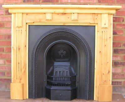 Large Original Victorian Cast Iron Fireplace Fully Restored  With Wood Surround
