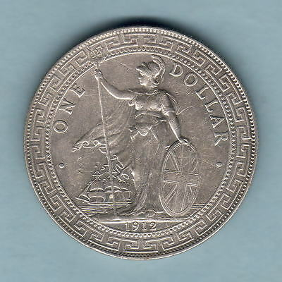 Great Britain.  1912-B Trade Dollar..  Much Lustre..  aEF/gEF
