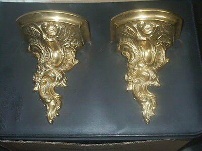 Lovely PAIR Of BRASS WALL SHELVES / SCONCES / BRACKETS Scroll - EXCELLENT Cond